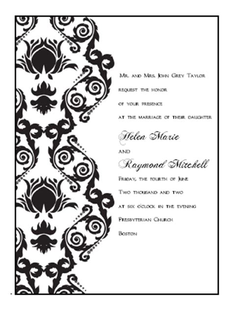 Damask Wedding Invitation Template by Printable Wedding Invitations Templates Damask Print