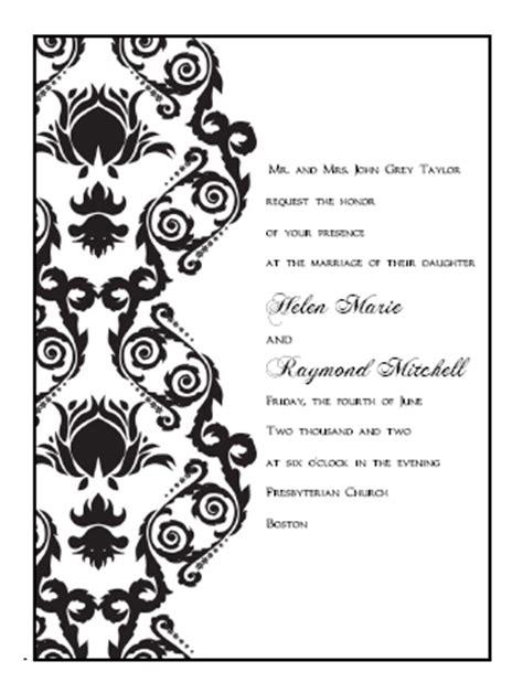 Damask Print Wedding Invitations by Printable Wedding Invitations Templates Damask Print