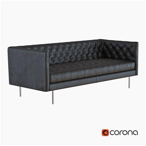 modern leather chesterfield sofa elm modern chesterfield leather sofa 3d model max obj