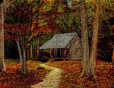 Log Cabin Drawings by Fall Retreat Cabin In The Smoky Mountains During The