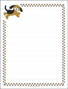 Dog Writing Paper Puppy Dog And Paw Prints Border Paper