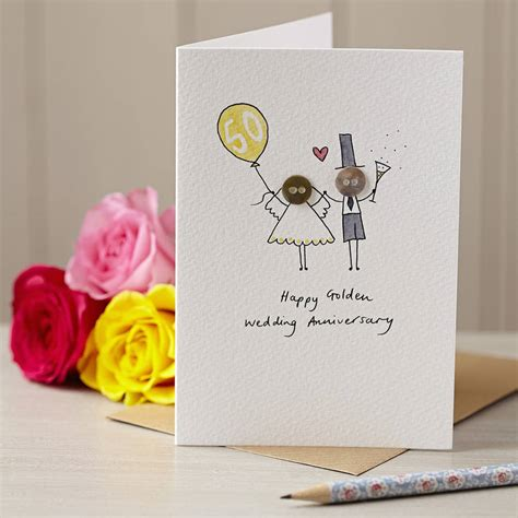 Anniversary Handmade Cards - personalised button anniversary handmade card by