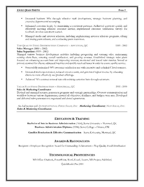 Sle Of Canadian Resume sales executive resume