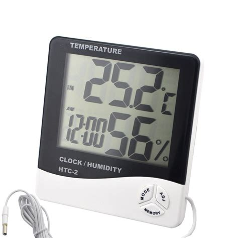 htc 2 digital lcd hygrometer temperature humidity thermometer clock w 1 5m line ebay