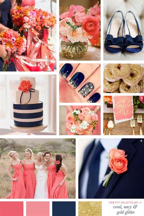 pretty wedding colors pretty palette coral navy gold glitter flourish