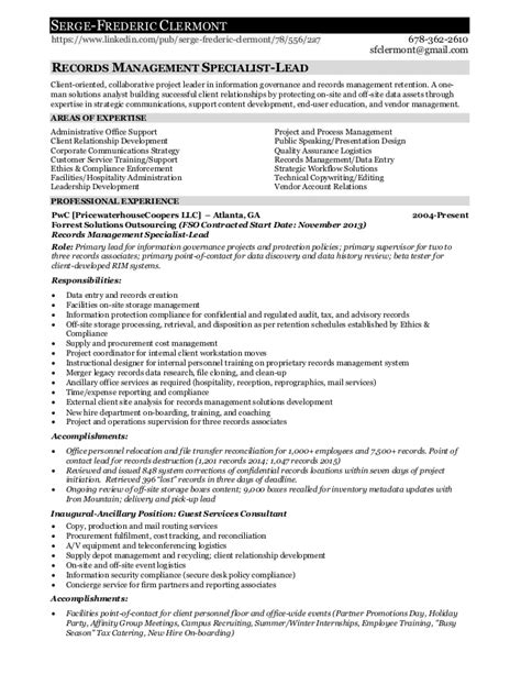 Records Management Employment Resume for Serge F. Clermont