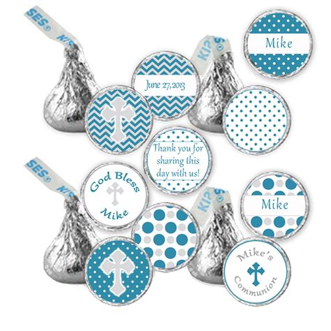 Hershey Kiss Stickers Printable Personalized Teal Grey Chevron Polka Dots Communion Labels Personalized Hershey Kisses Stickers Template
