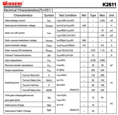 transistor mosfet k2611 k2611 datasheet pdf etc qdtasheet