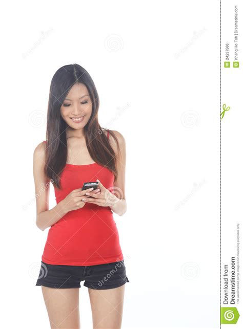 who is the asian girl in the mobile strike commercial asian girl using mobile phone royalty free stock image