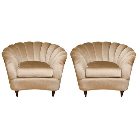 upholstered club chair pair of fan back upholstered club chairs at 1stdibs