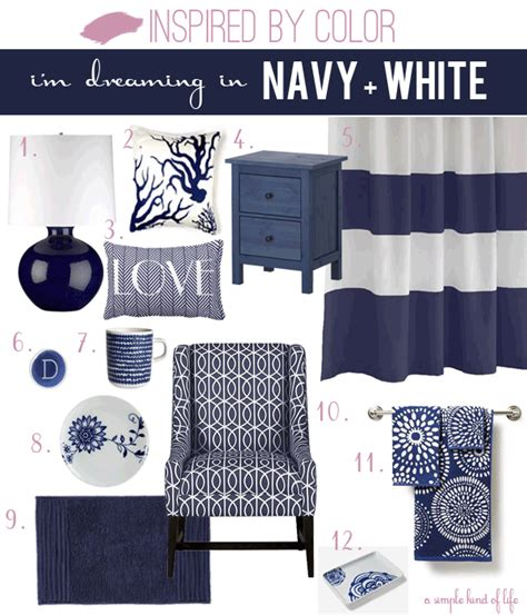 a simple of inspired by color navy and white