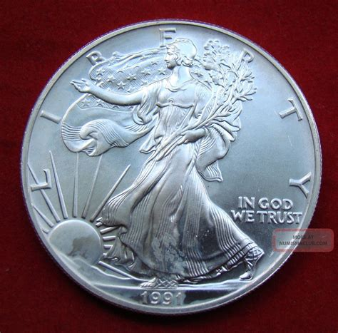 1 oz silver one dollar 1991 1991 silver dollar coin 1 troy oz american eagle st
