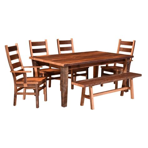almanzo barnwood dining table tapered leg amish crafted