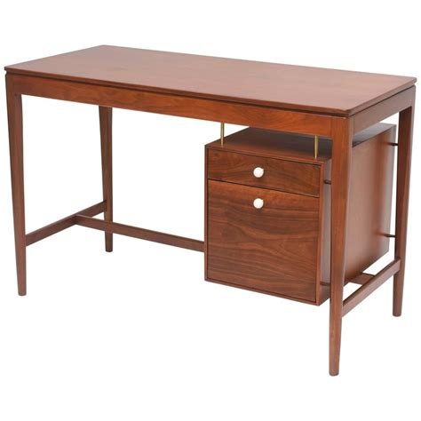 walnut and brass desk by kipp stewart for drexel at 1stdibs