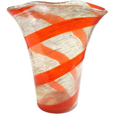 Orange Murano Glass Vase by Fratelli Toso Murano Orange Stripe Aventurine Flecks