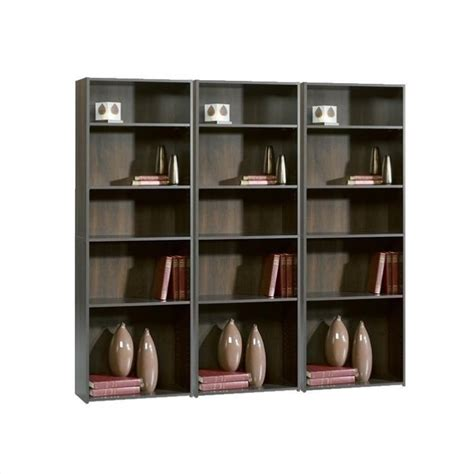 Sauder Beginnings 5 Shelf Wall Bookcase In Cinnamon Cherry Sauder Beginnings 5 Shelf Bookcase