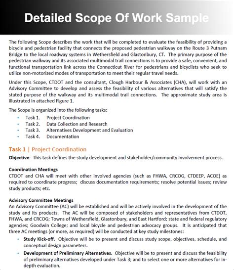 scope of work template free business requirements document template project manager