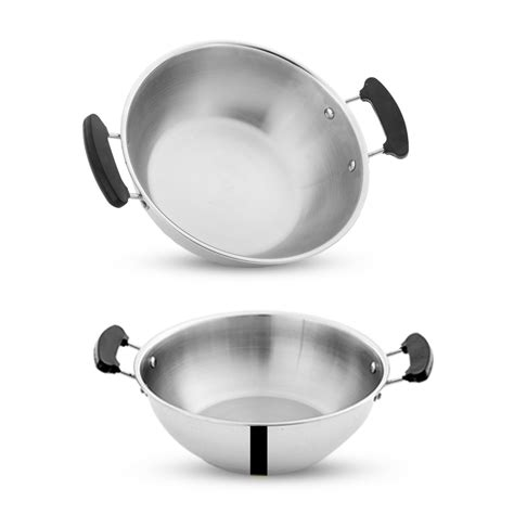 Panci Saucepan Belly With Cover Rosh 555 triply kadai without lid 20 cms pigeonindia