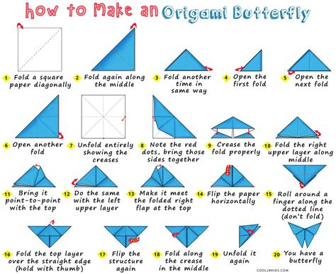 Origami Butterfly Diagram - how to make an origami butterfly cool2bkids