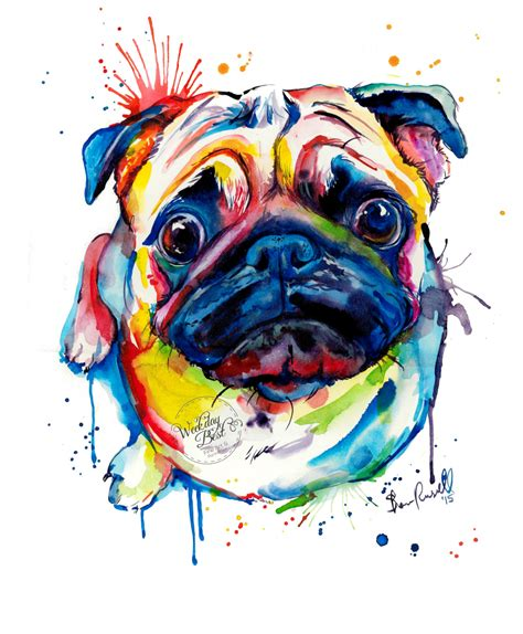 pug artist colorful pug print print of my original watercolor painting pug print