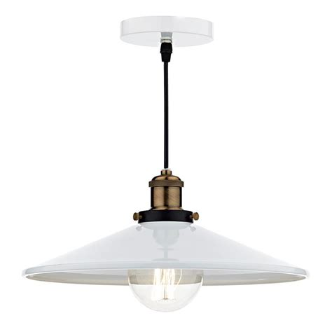 Single Pendant Ceiling Lights Dar Roof Single Pendant Ceiling Light Gloss White Shade And Antique Brass Roo012
