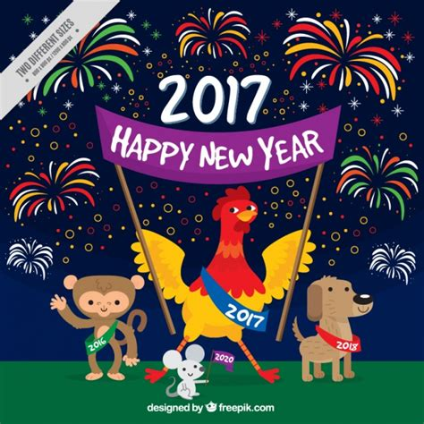 new year animal happy new year with fireworks and animals vector free