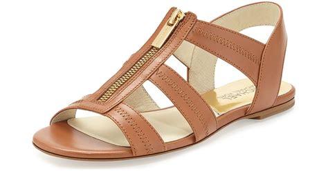 michael kors berkley t sandal michael michael kors berkley t flat sandal in brown