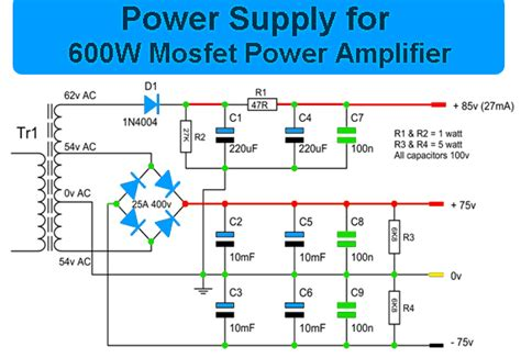 600 watts lifier schematic diagram 600 watt mosfet power lifier with pcb electronic circuit