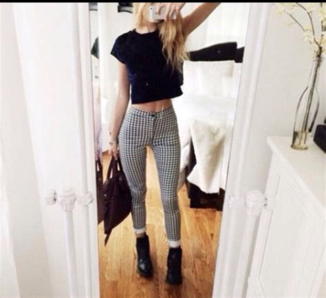 black and white pattern pants outfit musely