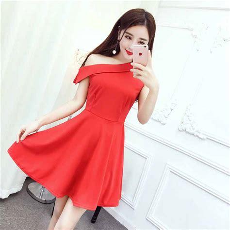 Dress Merah Import dress pesta warna merah import model terbaru
