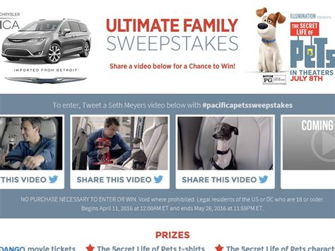 Chrysler Sweepstakes by The Chrysler Ultimate Family Sweepstakes