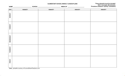 printable weekly lesson plan pages 8 free printable lesson plan template bookletemplate org