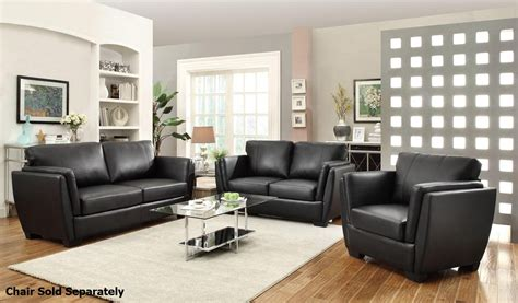 black leather sofa and loveseat coaster lois 503684 503685 black leather sofa and loveseat