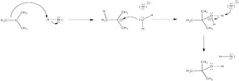 2 methylpropene hydration electrophilic addition