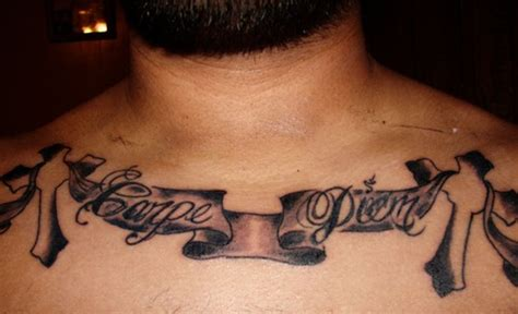 chest tattoo latin carpe diem on stripe chest tattoo tattooimages biz