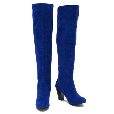 blue suede the knee boots yu boots