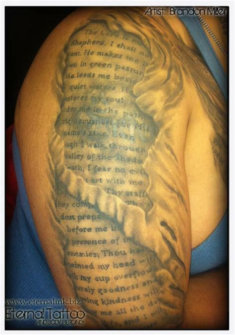 valley of death tattoo designs ripped skin with psalm 23 4 underneath quot though i