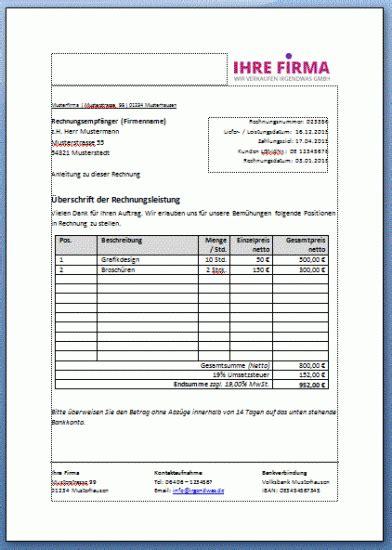 Rechnungsvorlage Word Gratis rechnung vorlage kostenlos runterladen f 252 r word