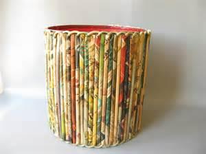 Christmas Themed Arts And Crafts - vintage rolled paper wastepaper basket folk art craft
