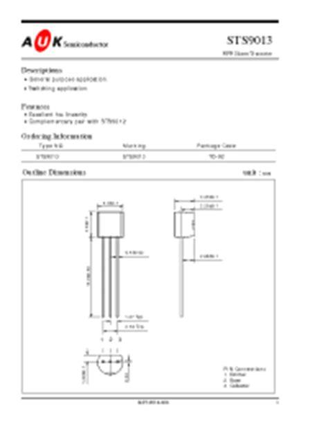 datasheet transistor npn 9013 s9013 auk npn silicon transistor bipolar