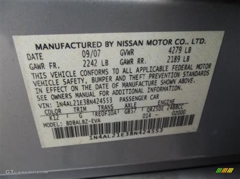 2008 nissan altima 2 5 sl color code photos gtcarlot