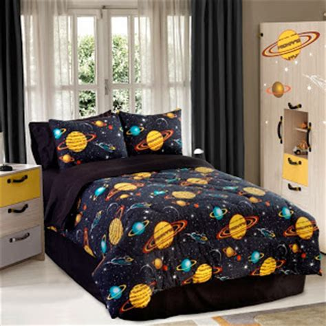 Size Comforter Set Boys Outer Space Theme Bedroom Blue Bedding Ebay Beautiful Solar System Bedding Ease Bedding With Style