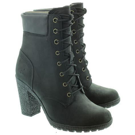 heeled boots timberland glancy heeled ankle boots in black in black