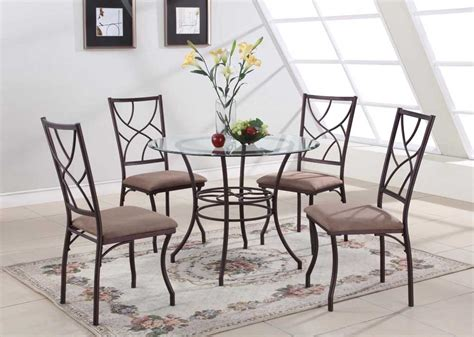 40 inch glass dining table set with metal leg