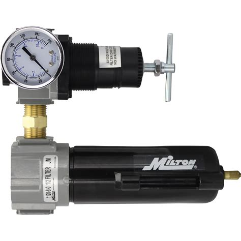 milton air filter regulator with metal bowl 1 2in npt inlet model 1108 northern tool