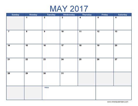 May 2017 Calendar May 2017 Calendar Template Printable Monthly Calendar