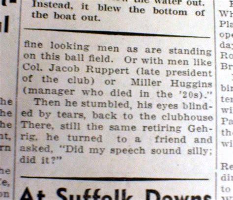 Farewell Speeches Sle 1939 newspaper lou gehrig farewell speech luckiest on