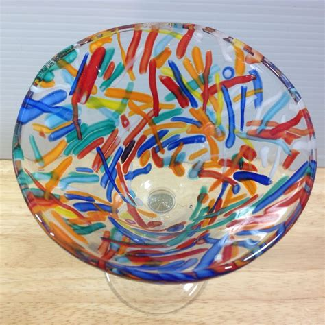 Colorful Barware Pier 1 Confetti Blown Martini Glass Colorful Strips