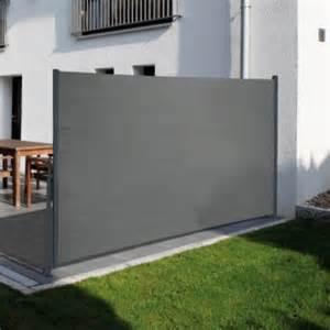 sichtschutzrollo terrasse traumgarten seitenmarkise grau basic benz24