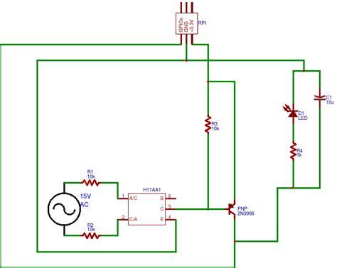 resistor detector circuit calculating resistor values for rpi circuit detecting ac current using h11aa1 and pnp transistor
